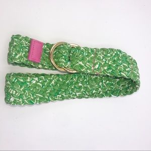 Lilly Pulitzer Green & White Braided Ring Belt S